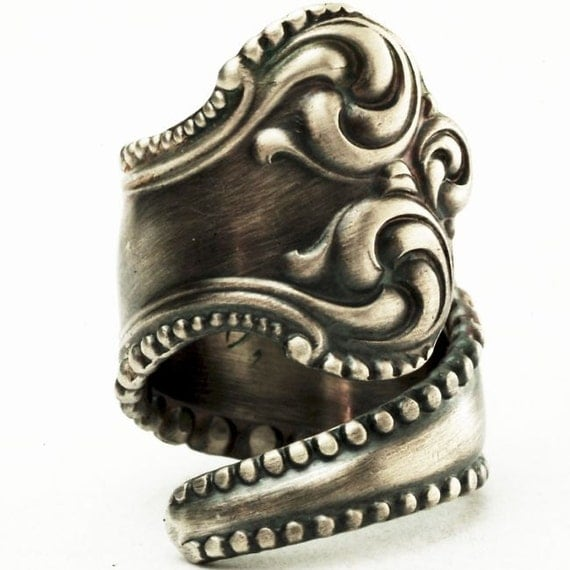 Ornate Florentine Victorian Sterling Silver Spoon Ring, Handmade to your size (2621)
