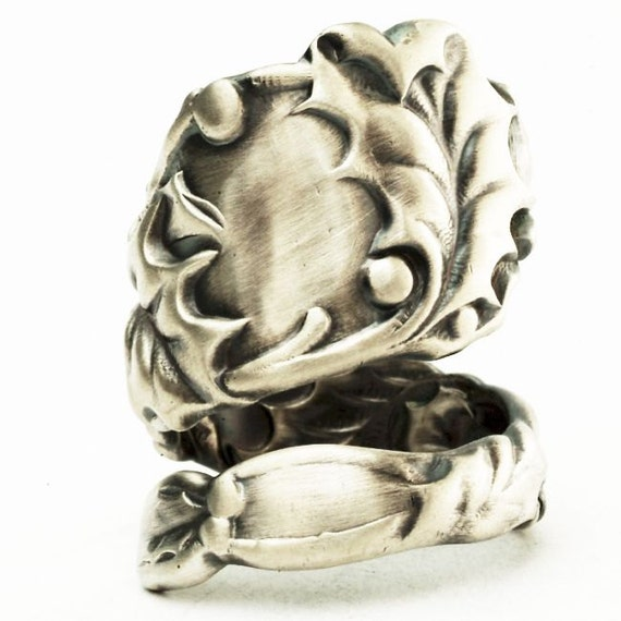 Spoon Ring Vintage Holly Leaves in Sterling Silver, Handcrafted in Your Size (2625)