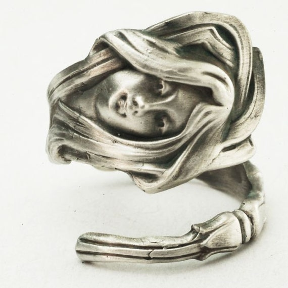 Spoon Ring of Art Nouveau Greek Goddess Sterling Silver, made in YOUR Size (2876)