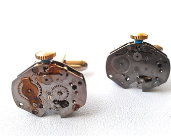Industrial  Inspired Watch Movement Cufflinks for Him