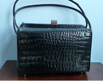 Vintage 1960s Bonwit Teller Black Patent Leather Croc Texture Purse