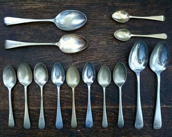 Vintage English Dinner Pudding Teaspoons Spoons Mixed Set of 14 cutlery silverware flatware job lot circa 1910-50's / English Shop