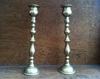Vintage English Brass Candle Holder Candlestick Pair circa 1940's / English Shop