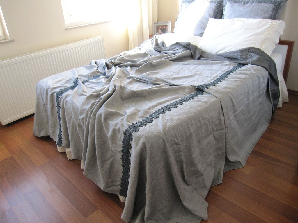 Grey Linen King Bed Skirt : Grey linen king size bedspread coverlet blanket matching