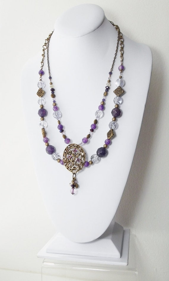 Brass and Purple 2 Strand Necklace, Free Shipping