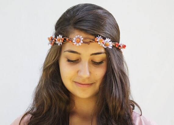 Daisy Crown - Lavender and Orange Tiny Vintage Daisies, Hippie Headband, Summer Fashion, Daisy Chain, Flower Head Wreath