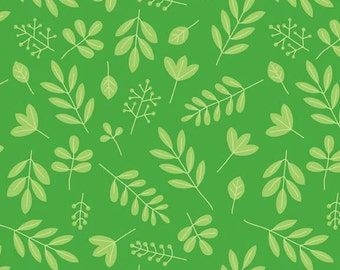 SALE 1 Yard of Zoofari Green Leaves by Doodlebug Design for Riley Blake