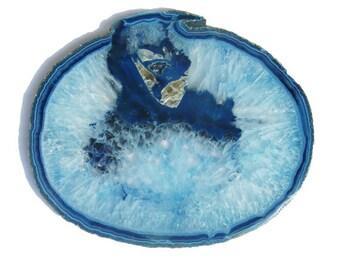 Sliced Blue Agate and Creamy Light Blue Quartz Geode