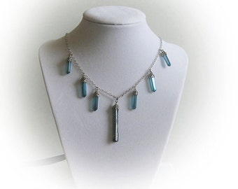Sterling Silver Blue Quartz and Tourmaline Necklace