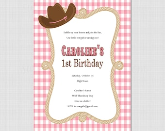 Cowgirl Collection: Printable Birthday or Baby Shower Invitation