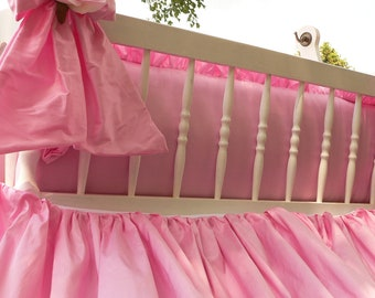 On Sale Crib Silk Skirt/Luxury Ruffled Nursery Crib//Cradle Bedding & Bow Accents with Flower