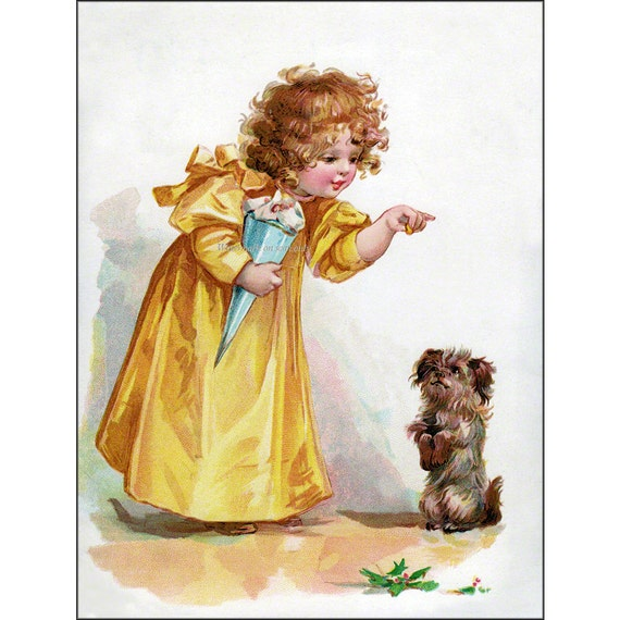Cairn Terrier Dog - Girl Feeds Puppy Treats - Vintage Style - Repro Frances Brundage