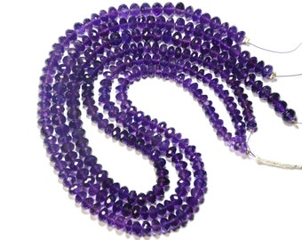 """SALE 16"""" line  AA AMETHYST beads rondelles 5 to 7.25 mm ViP Collection am012"""