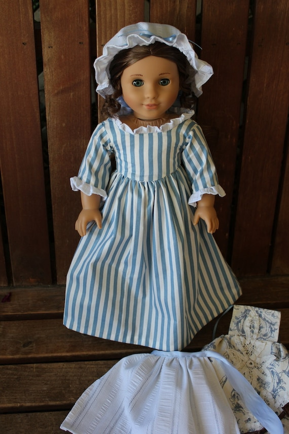 reserved listing: Felicity apple butter dress with work apron, pinafore apron cap and colonial flag for 18in American girl dolls