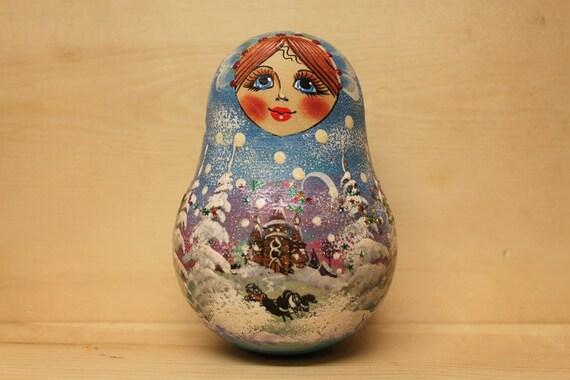 Babushka  Matryoshka Chime Doll Roly Poly Doll Baby Shower Gift