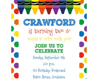 Art Birthday Invitation, Crayon Birthday, Coloring Birthday, Art Party Printables, Art Party Birthday Decorations, Lauren Haddox Designs