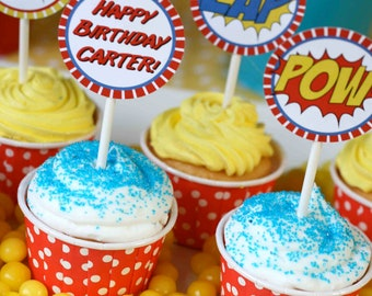 DIY Superhero Cupcake Toppers