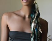 Extra Long Grizzly Turquoise and Black Feather Earrings
