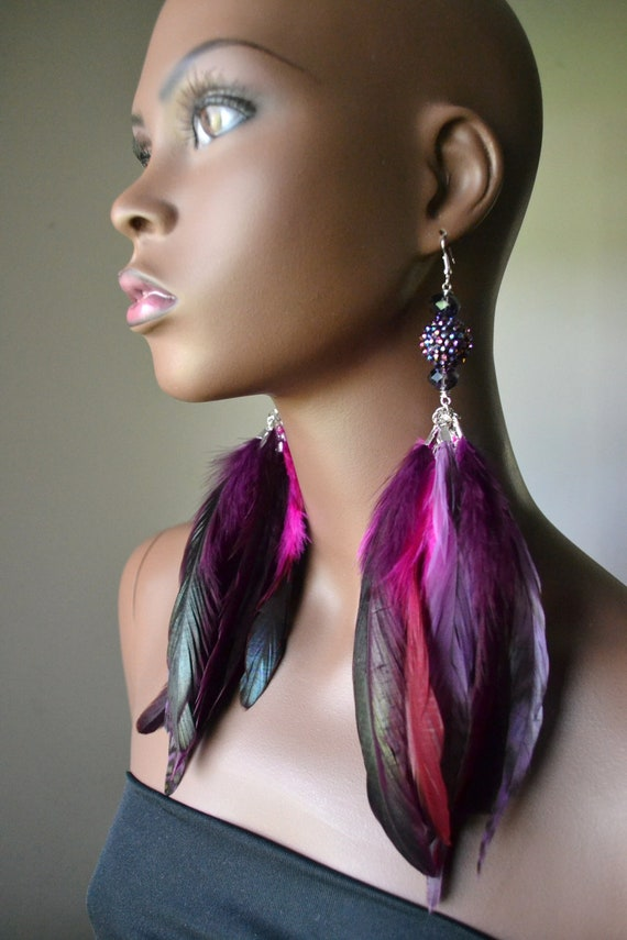 Purple and Pink Feather Earrings Basketball Wives