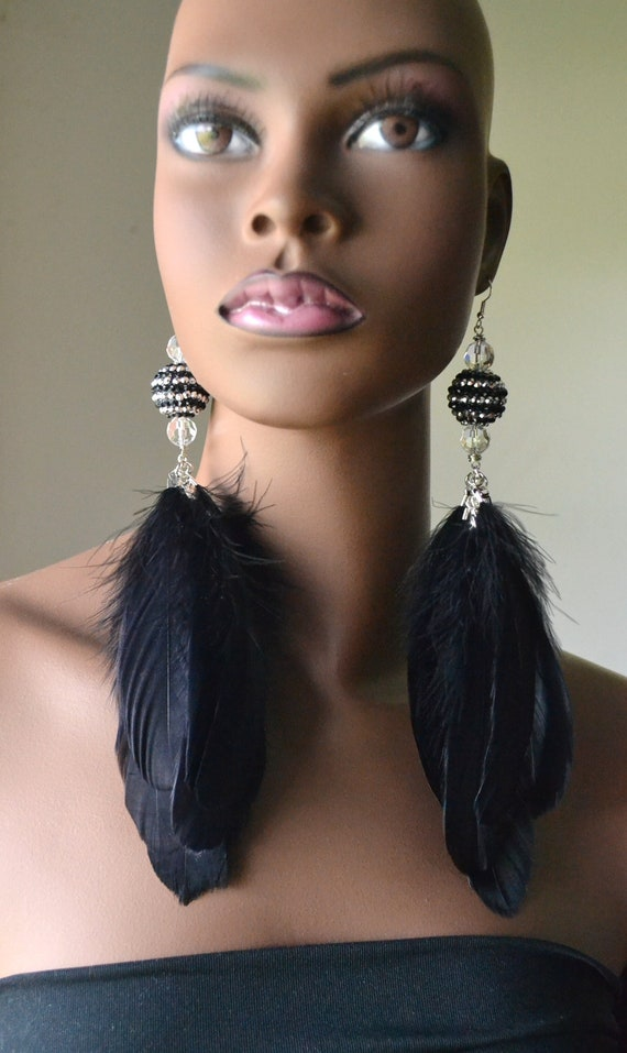 Basketball Wives Black  Feather Earrings