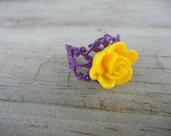 Yellow Gold Flower on Purple Filigree Ring