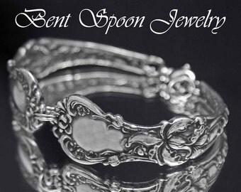 Spoon Bracelet - Antique Floral 1902 recycled Silver Spoon Bracelet..Silverware Jewelry