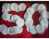 Lot of 50 two inch  WHITE felt circles for crafts,EMBELLISHMENTS and other projects