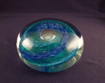 Gorgeous Signed Art Glass Paperweight Blue Swirl Controlled Bubble Andrew Magdanz