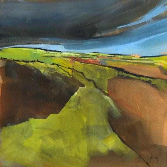 Original acrylic semi-abstract landscape painting - Open moorland