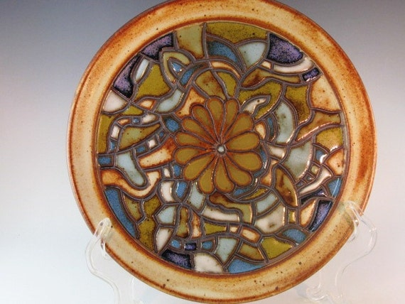 Dinner Plate With Flower And Mosaic Pattern