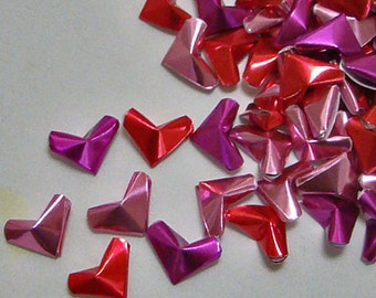 Small Origami Hearts (100): Foil Paper Red, Pink, Fuchsia