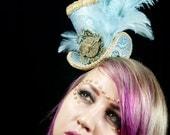 Steampunk Mini Top Hat- Blue Paisley Brocade, Gears & Clock Face
