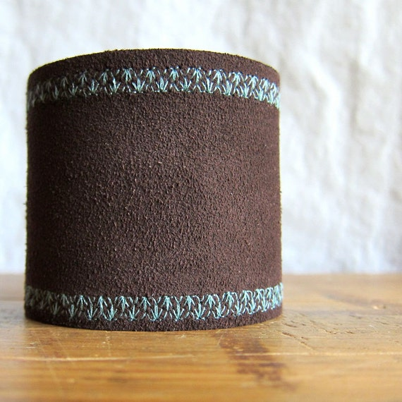 Brown Leather Cuff Bracelet for Woman, Brown and Turquoise Cuff, Wide Cuff Bracelet, Adjustable Size Cuff, Suede Cuff Bracelet, Southwestern