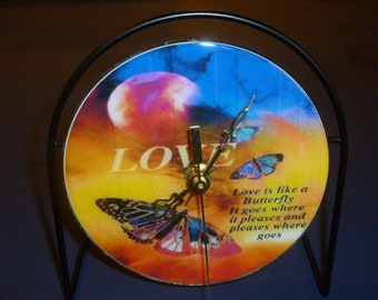 Butterfly/Love  Recycled CD Clock Art