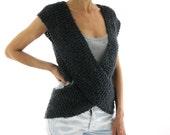 Dark GRAY WRAP...Handknitted Cross Sweater