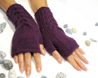 Purple Fingerless Gloves, Wool Mittens, Women Arm Warmers with cable pattern, Handmade, Hand knitted, Eco Friendly