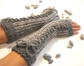 GRAY  LONG Fingerless Gloves, Merino Wool Mittens, Women Arm Warmers , Hand Knitted, Eco Friendly