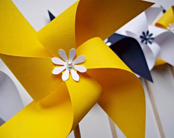 Nautical Wedding Paper Pinwheels. Choose Your Colors. 6 Spinning Pinwheels.