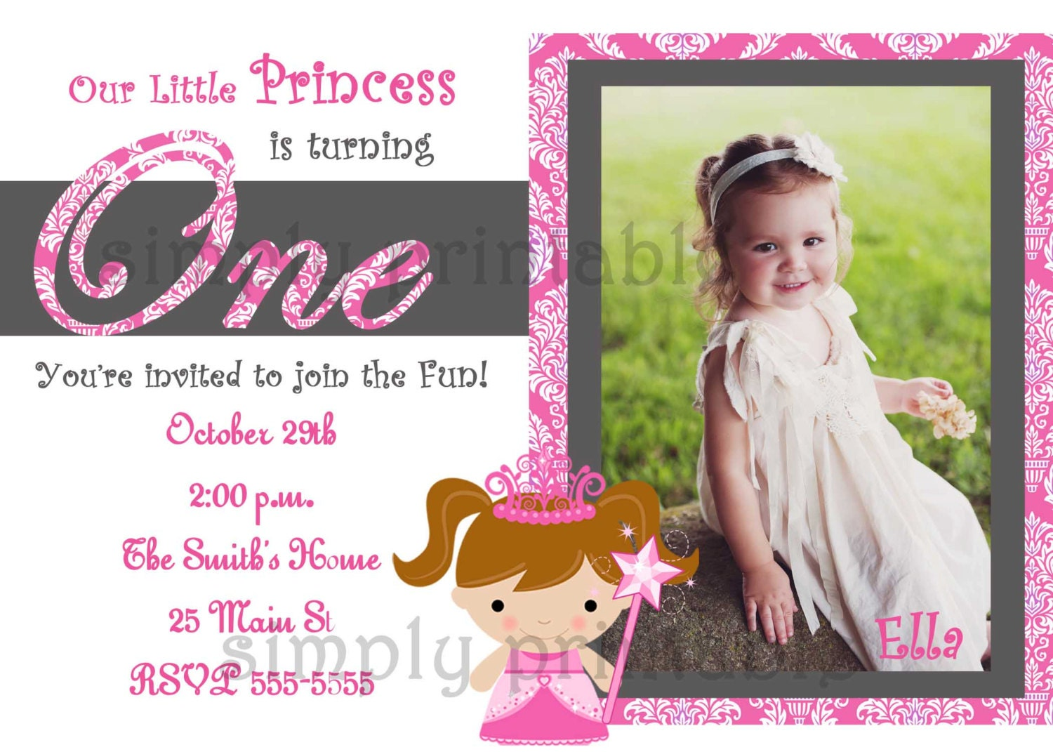 Girls First Birthday Invitation for Princess Party – 1st Birthday Princess Invitation
