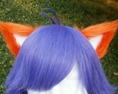 Orange and White Clip on Cat Ears