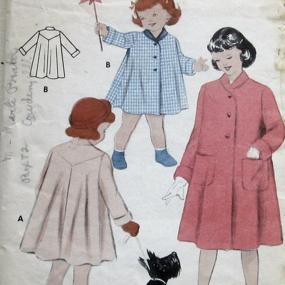 1940s Childs Coat Size 4 Butterick  Pattern 7062 Complete Vintage Sewing Pattern