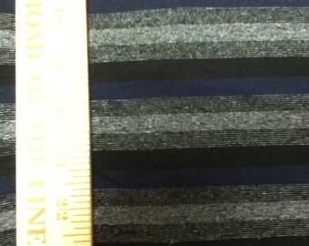 Black Sparkle Lurex Stripe Knit Fabric