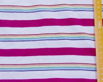 Pinkalicious Rainbow Stripe Cotton Lycra Knit FAbric