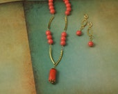 Coral pendant, coral colored necklace & earrings - SOLD