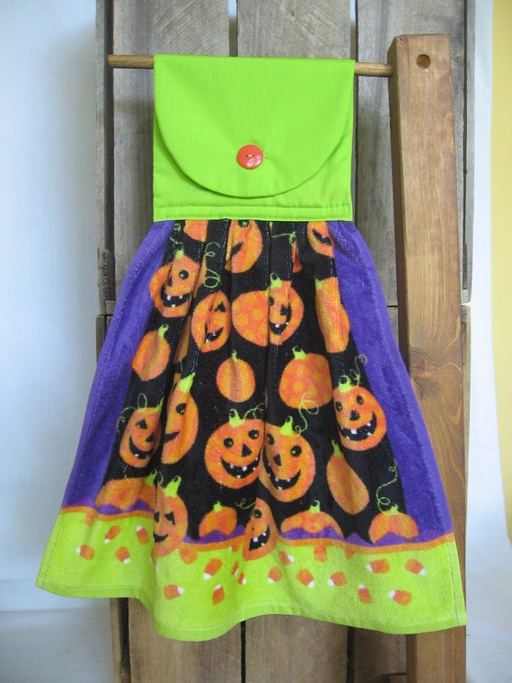 Halloween Pumpkin Kitchen Towel Hanging Kitchen Towel with Halloween Pumpkins and Candy Corn