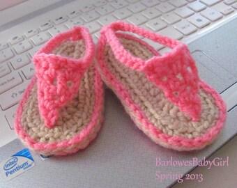 Buggs - Crochet Pink Baby Flip Flop Sandals - Pick Your Color