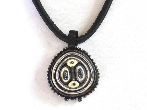 Necklace White Black - Fiber Pendant - Textile  Jewelry - OOAK Ready To Ship