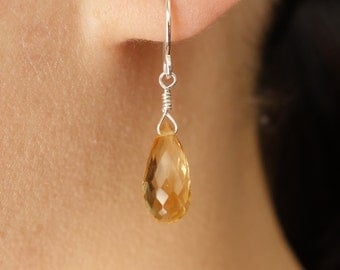 Citrine Drop Earrings in Sterling Silver, hand wrapped Dangle Earrings, wedding ,bridal jewelry,Mother's Day Gifts,