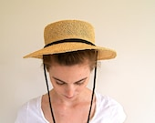 Vintage Straw Hat. 1970s Summer Hat.