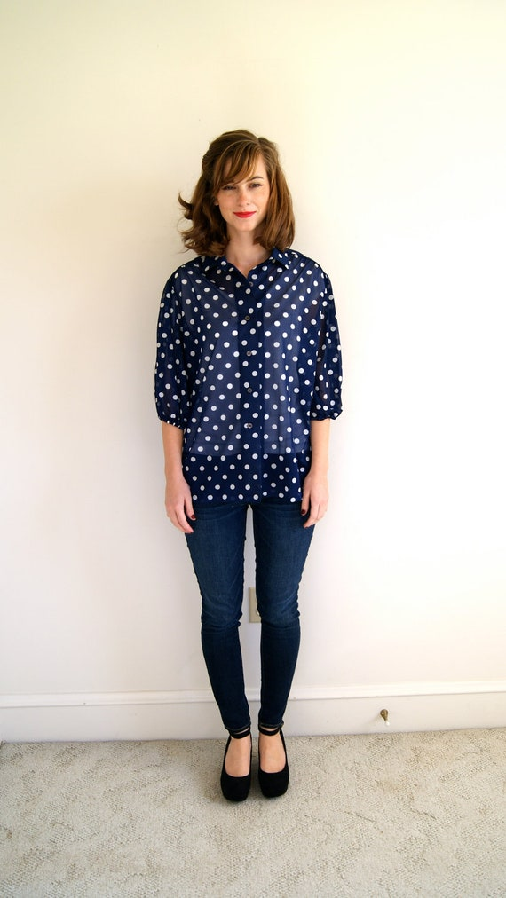 Vintage Navy Secretary Blouse with White Polka Dots and Long Sleeves and Back Zipper Womens Size Medium/Large MultiShoppeVintage. 5 out of 5 stars () $ Favorite Add to See similar items + More like this. 's Vintage Navy large polka dot cotton fabric on white background 1 .